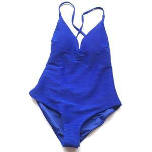 NEW Mandalay Swimwear Cobalt Blue Ribbed One Piece
